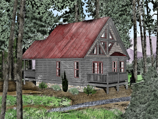 Log Home Floor Plan River Rock 4